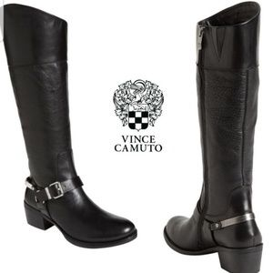 Vince Camuto Brunah Black Leather Boot size 10